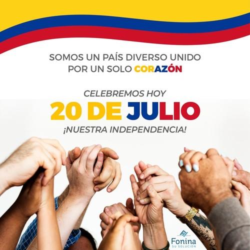 La diversidad junto a este corazón 💓 que late en cada uno de nosotros, nos hace únicos, nos hace Colombianos. Celebremos hoy en paz la libertad dada por nuestra independencia. 🇨🇴🇨🇴🇨🇴  . . . . #SomosFonina #IndependenciadeColombia #20deJulio #Colombia #NuestraIndependencia